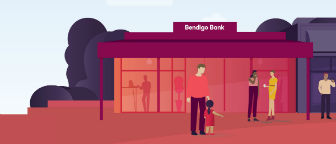 Illustration of a Bendigo Bank branch in a street.