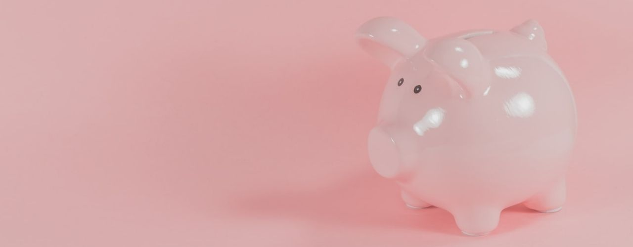 Pink piggy bank representing savings