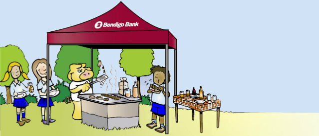 Cartoon illustration of piggy and children using a Bendigo Bank marquee having a BBQ.