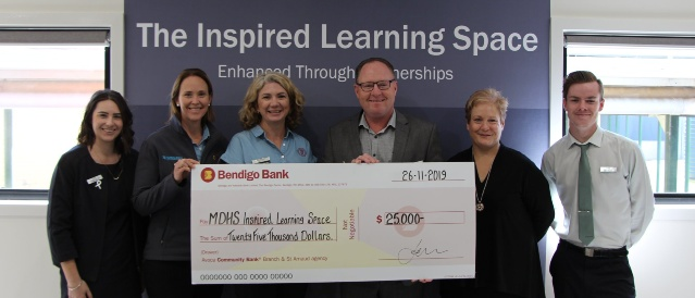 Cheque presentation picture with Branch staff, board and Maryborough District Health services for their Inspired Learning Space