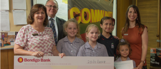 Local Darley primary school group receiving a $5000 funding cheque