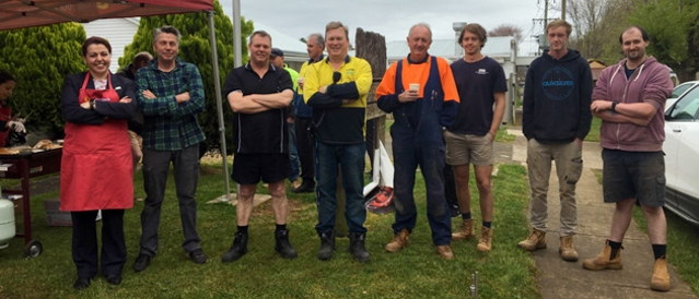 Tradies from the local Trentham community pictured together having an outdoor breakfast.