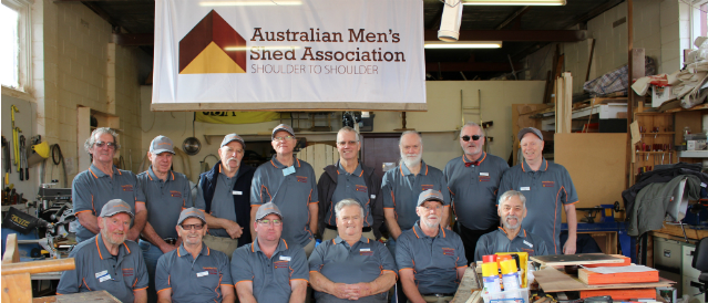 A group of men in their shed funded by Cockatoo Gembrook Community Bank Branch.