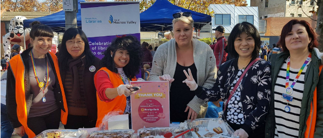 A group of women from Flemington Community Bank Branch at a local park event sponsored by the Bank.