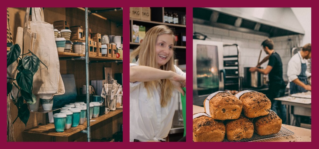 Images showing local Dunsborough business 'Merchant & Maker' displaying takeaway coffee cups, customer service and freshly baked bread.