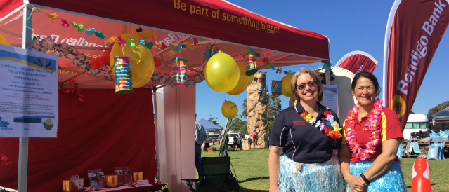 Tambellup and Cranbrook Community Bank Branch staff are at a local community event with the bank marquee and balloons.