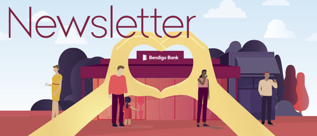 Bendigo Bank branch illustration with the word Newsletter