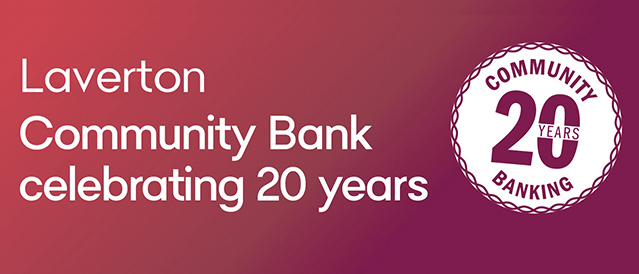 Graphic title block reading Laverton Community Bank celebrating 20 years