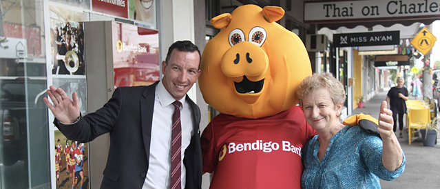 Piggy and team outside the Seddon Community Bank branch