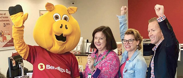 Piggy and the team from Seddon Community Bank branch