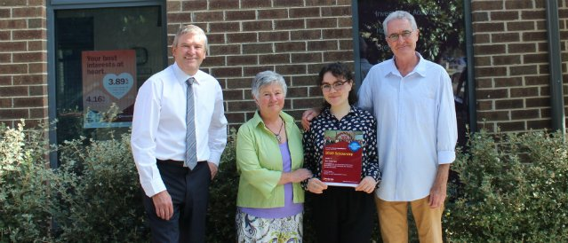 Young person, her parents and Lancefield Community Bank Branch Manager after receiving a scholarship from the branch to help fund her university studies.