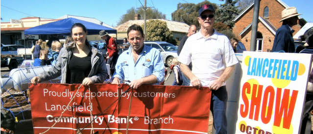 Lancefield Community Bank Branch staff, directors and locals at a community event supported by the local branch.