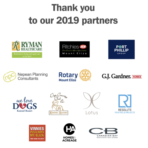 Graphic showcasing logos of the local organisations that were partners in the 2019 Mt Eliza Community Pitch program.