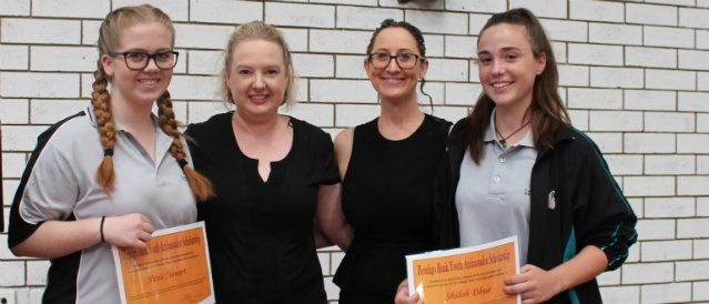 Mundaring Community Bank branch latest scholarship recipients with two Community Bank directors.