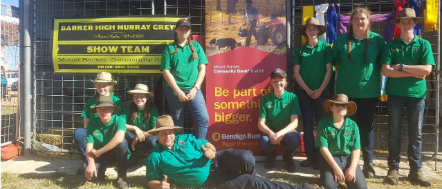 Young members of the Barker High Murray Crew Show Team are supported by Mount Barker Community Bank branch with funding.