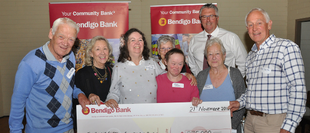 Rye, Rosebud and Dromana Community Bank Branch staff with club representatives who have received community bank funding.