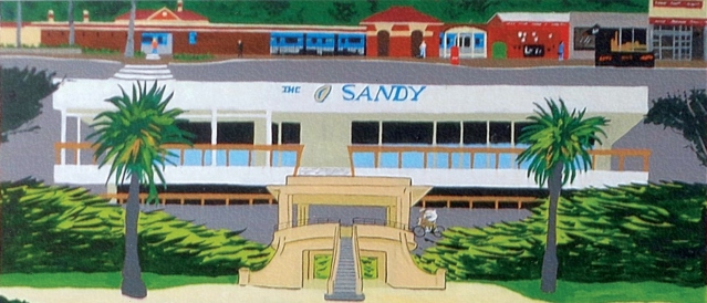 Illustration of Sandrinham beach building 'the Sandy' with a building and palm trees.