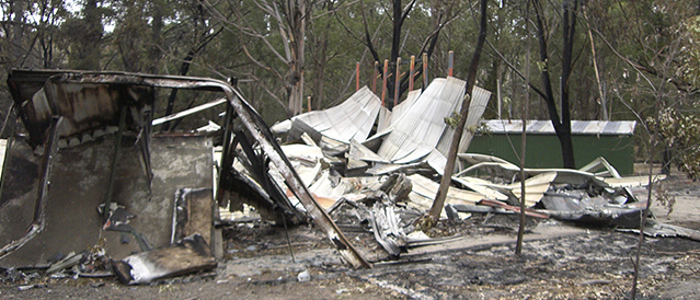 The ruins of Camp Warringal after the 2009 bushfires
