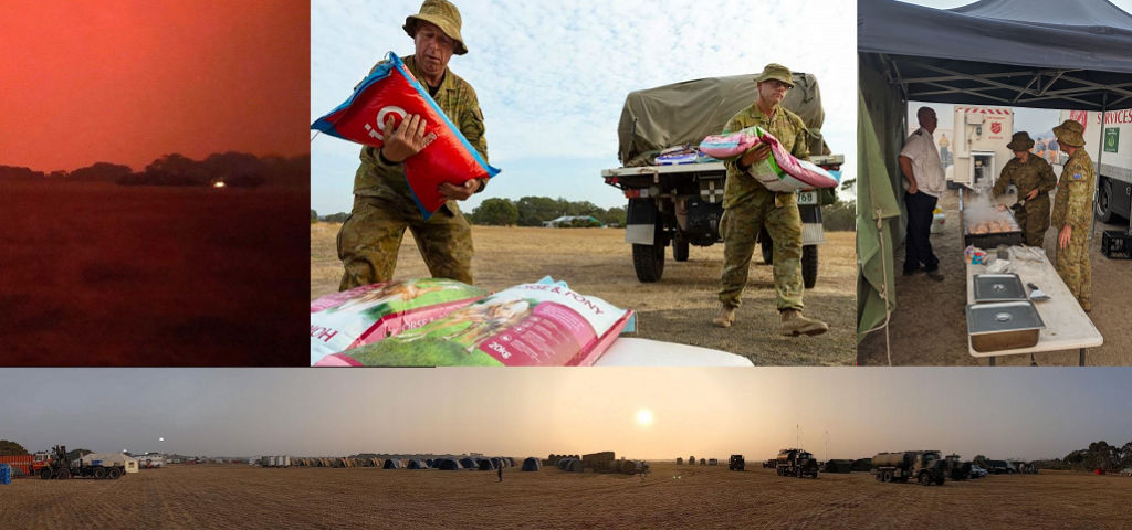 Collage of photos: Red sky from ash and fires. Terry and co-reservist carrying bags of animal food. Camp kitchen set up in army reserve tent city. Panoramic photo of tent city.