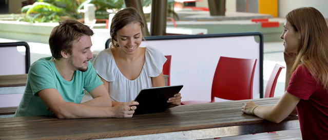 University students using tablet