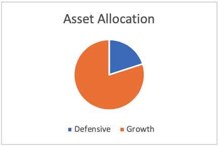 Chart showing asset allocation for growth high growth investment style